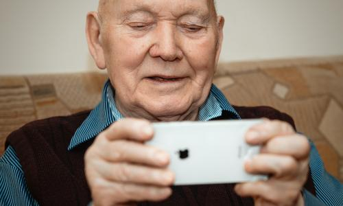 man with iphone