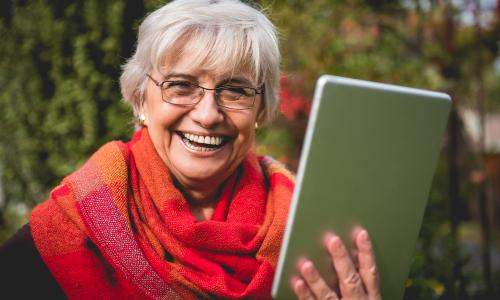 Lady online laughing